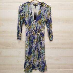 {M} NWT BCBG MaxAzria Blue Green Adele Wrap Dress